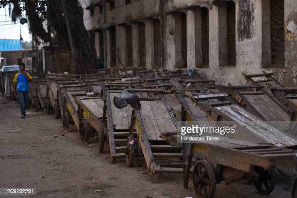 Hand carts lined up on a roadside on day eleven of the 21day nationwide lockdown to curb the spread of coronavirus at Qutab Road on April 4 2020 in...