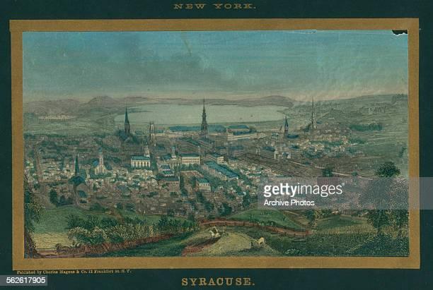 Hand color print of a birds eye view of Syracuse, New York, circa 1850.