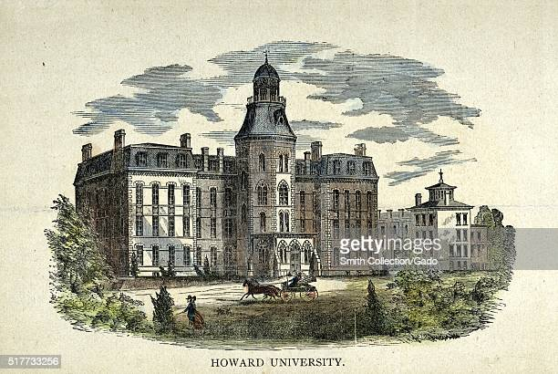 Hand colored etching of Howard University federally chartered private coeducational nonsectarian historically AfricanAmerican university in...