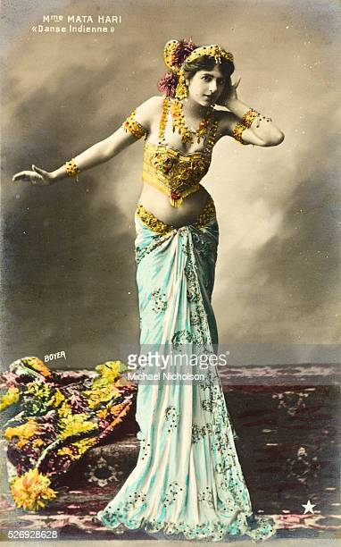 Hand colored postcard of Mata Hari performing the Danse Indienne taken by Paul Boyer in 1907 Mata Hari was later executed in France for spying for...