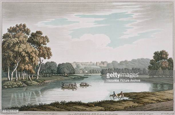 A hand colored print of the banks of the River Thames seen from Twickenham