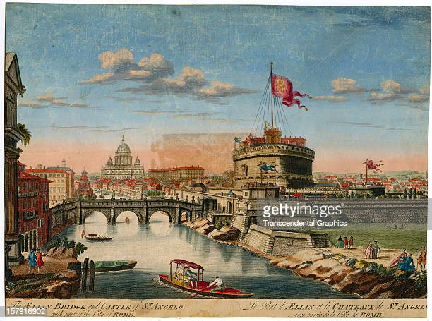 A hand colored print with a view of Roma is issued circa 1810 in Boston Massachusetts