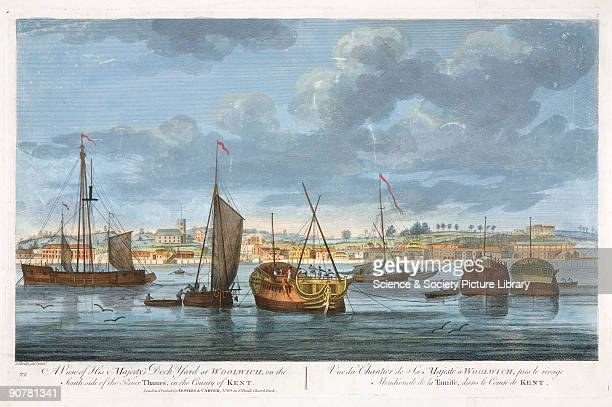 Hand coloured engraving printed for Bowles and Carver and reissued in 1821 Henry VIII announced his plans to build two dockyards on the Thames in...