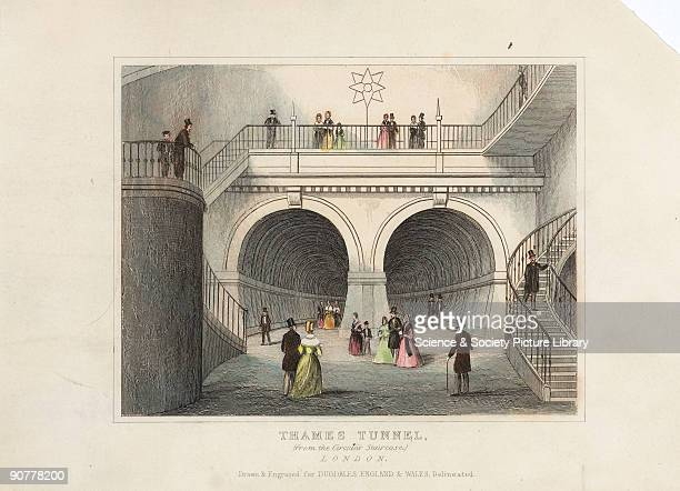 Hand coloured engraving showing the entrance to the Thames Tunnel seen from one of the spiral staircases built at either end of the tunnel Sir Marc...