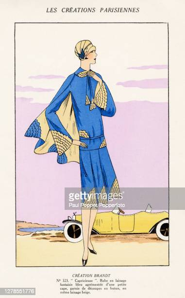 Hand coloured illustration from French fashion publication Les Creations Parisiennes, featuring a drop waist dress by Brandt, the dress is in blue...