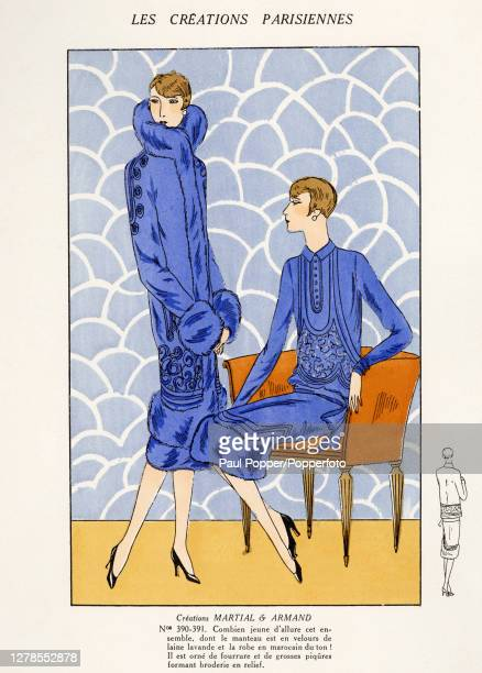 Hand coloured illustration from French fashion publication Les Creations Parisiennes, showing a dress and coat design by couture house Martial and...