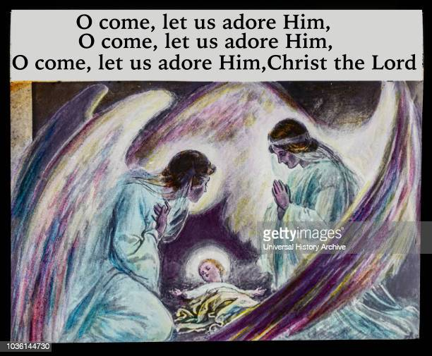 A hand coloured magic lantern slide circa 1900 A slide depicting the words to the hymn O come let us adore Him