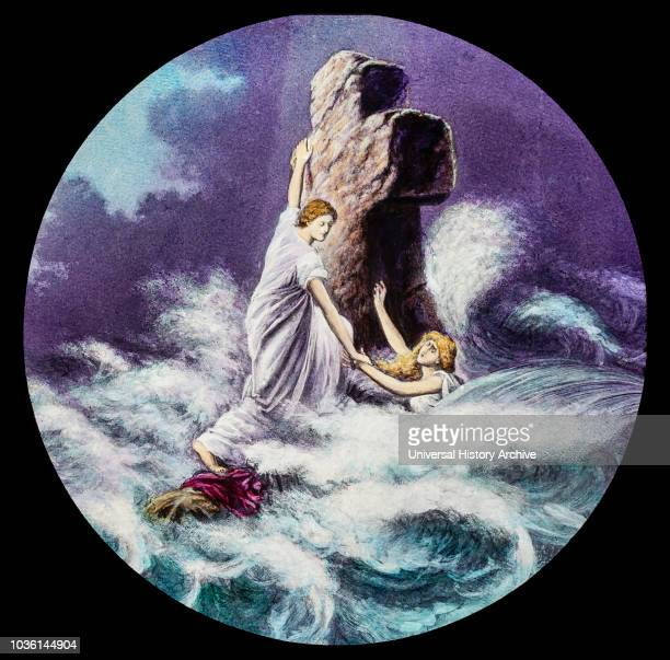 A hand coloured magic lantern slide circa 1900 Two women clinging to a cross in a rough sea/oceanHymn Rock of Ages