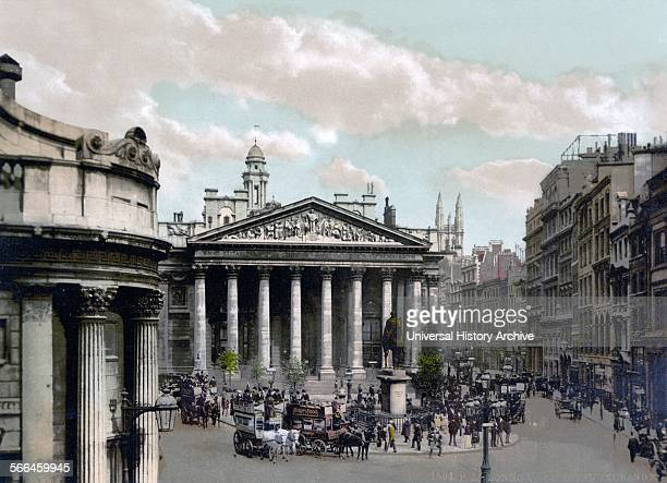 Hand coloured photograph of the Bank of England with horse drawn buses in London Dated 1900
