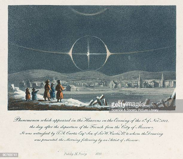Hand coloured stipple engraving illustrating an unusual collection of atmospheric phenomena caused by moonlight refracted through ice crystals in...