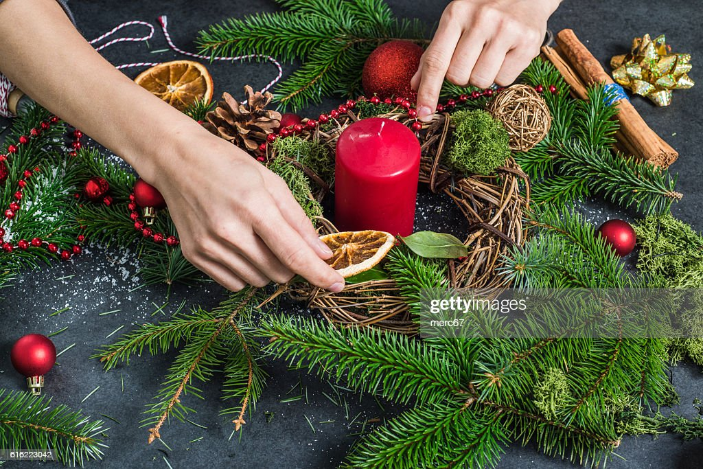 Hand craft festive decorations : Stock Photo