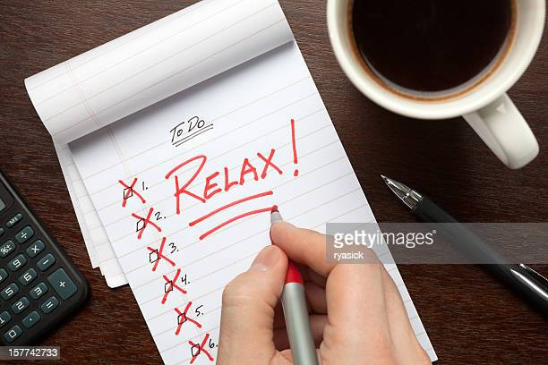 Hand Crossing Off To Do List & Writing Relax