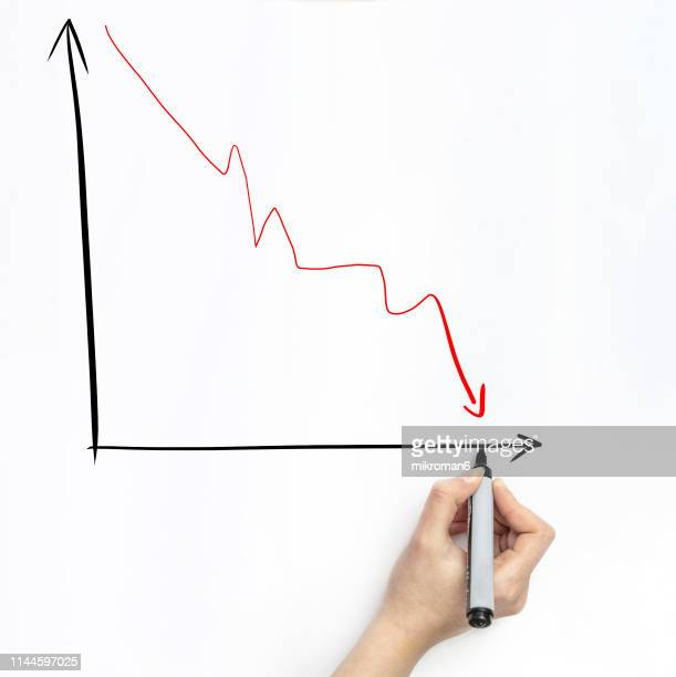 hand drawing a graph on white page with marker - decline stock pictures, royalty-free photos & images