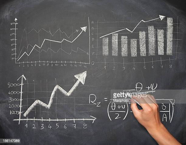 Hand drawing business chart and formula on a blackboard