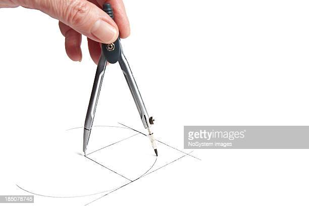 hand drawing the circle between two tangent lines - drawing compass stock pictures, royalty-free photos & images
