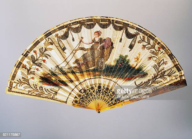 Hand fan with Venus on her chariot painted silk leaf 18041810 France 19th century Trieste Civico Museo Sartorio France