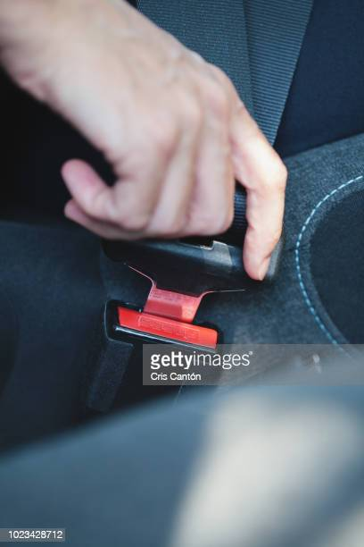 hand fastening seat belt - fastening stock pictures, royalty-free photos & images