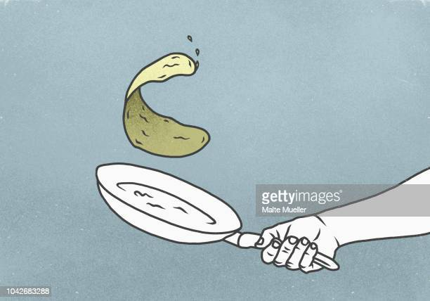 hand flipping crepe in pan - cooking illustrations stock pictures, royalty-free photos & images