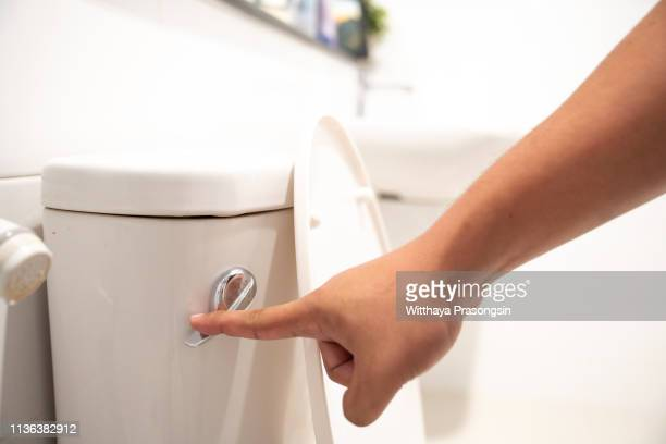 hand flush toilet - handle stock pictures, royalty-free photos & images