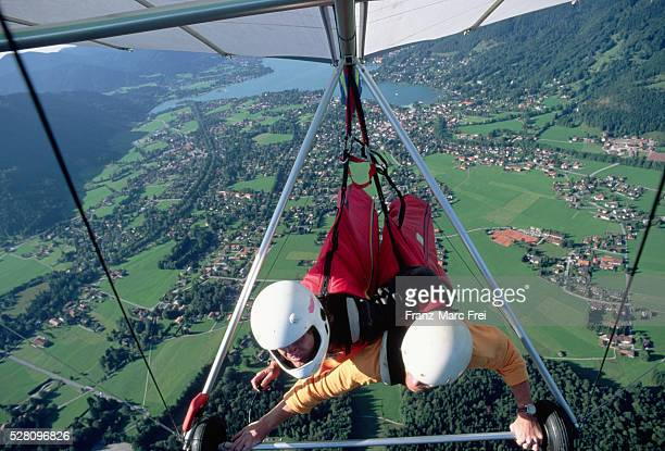 Hand Gliders Above Bavarian Landscape