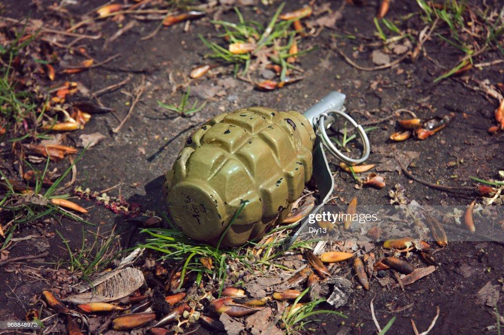 hand grenade grenade lying on the ground : Stock Photo
