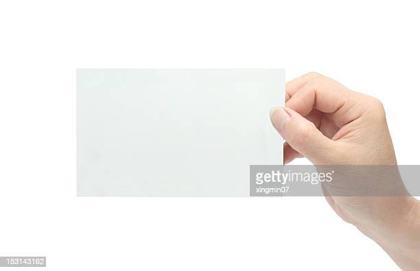 hand festhalten leere Karte
