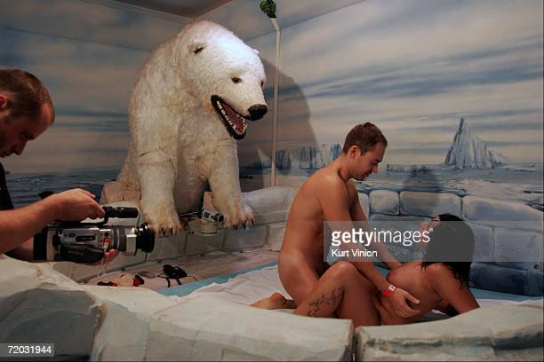 A hand held cameraman joins Tiffany and her Czech patron as they engage in sex in the igloo theme room at the brothel Big Sister on August 23 2006 in...