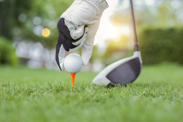 Hand Hold Golf Ball with Tee On Course, Close-up - Golf Action Banque d'images et photos libres de droit