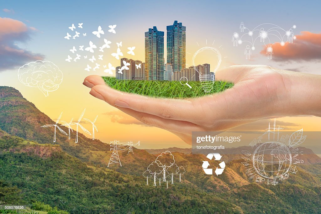 Hand hold green city, Save earth concept : Stock Photo