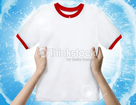 Hand Hold White Clean Shirt Stock Photo