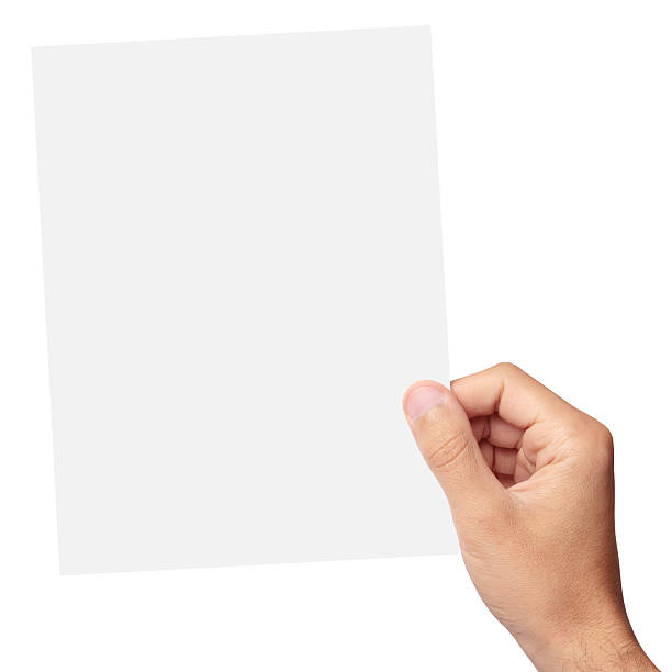 hand holding a blank piece of paper - human hand stock pictures, royalty-free photos & images