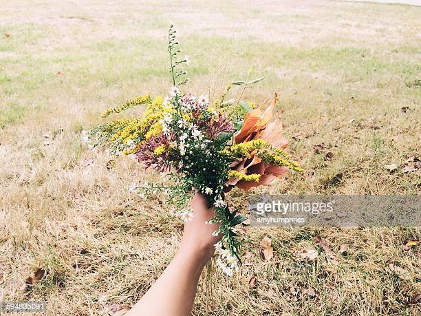 Hand holding a Bouquet of Autumn Wildflowers