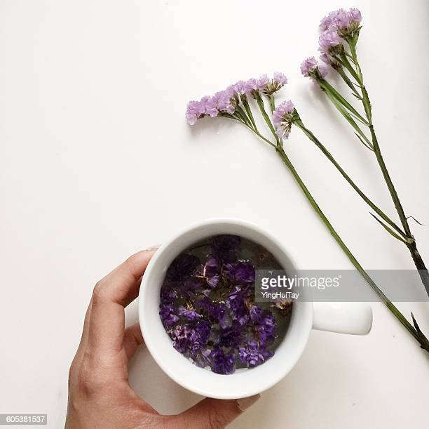 Hand holding a cup of floral forget-me-not flower tea