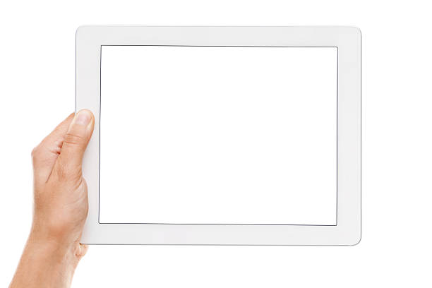 hand holding a digital tablet with empty display - human hand stock pictures, royalty-free photos & images