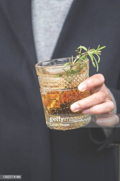 hand holding a gin cocktail - mint julep stock pictures, royalty-free photos & images