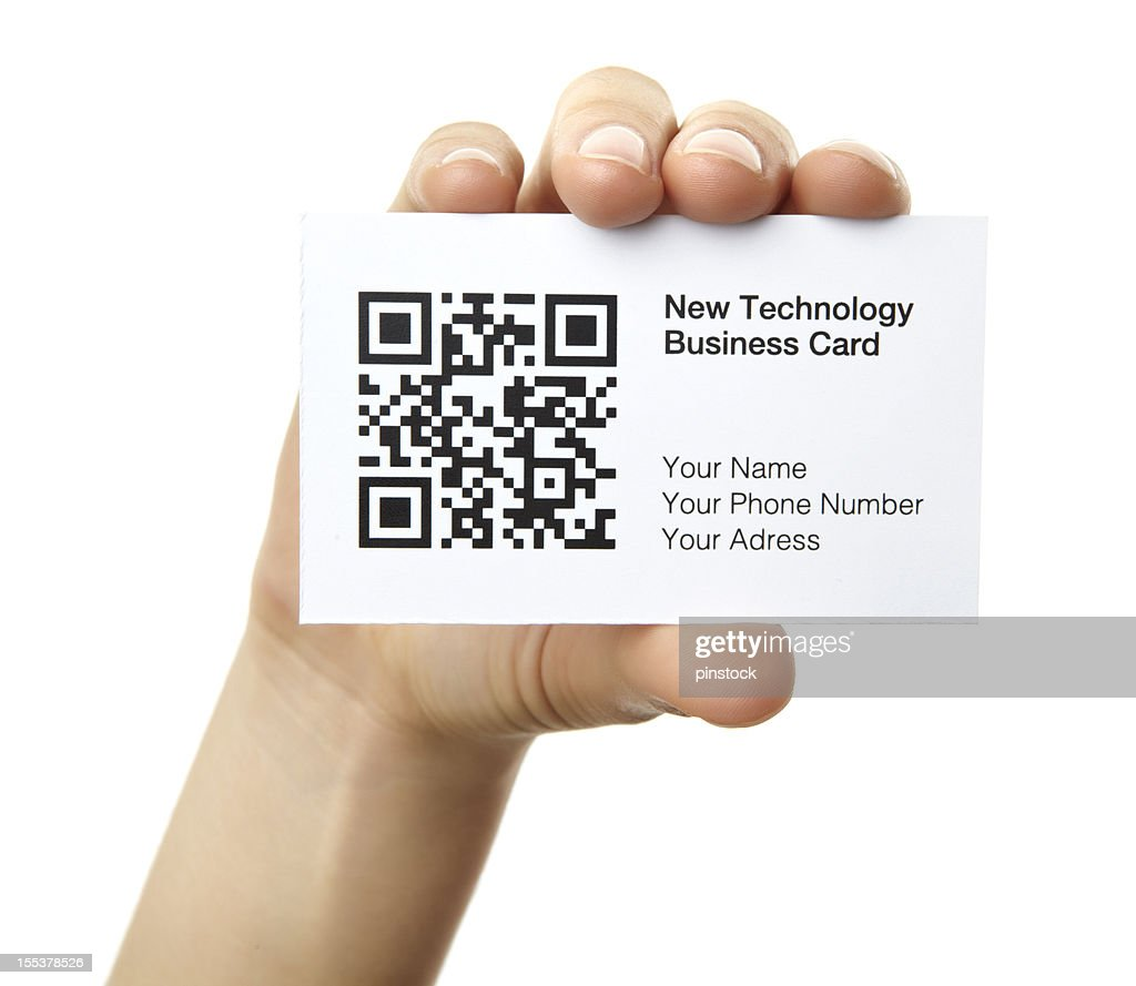 Hand Holding A New Technology Business Card With Scan Code Stock ...