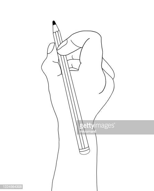 hand holding a pencil and drawing - single word stock pictures, royalty-free photos & images