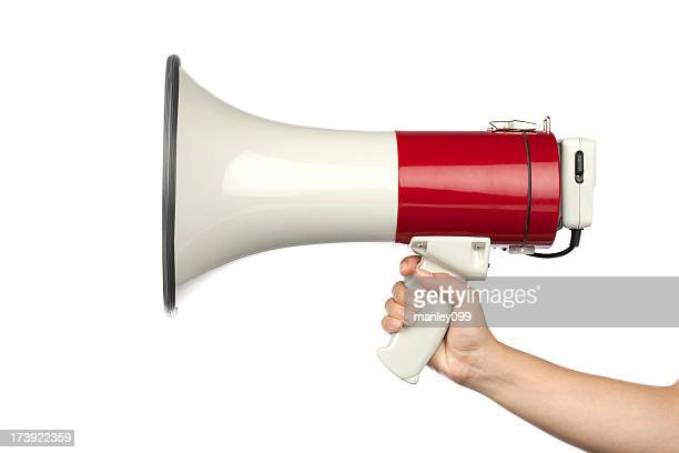 hand holding a red megaphone