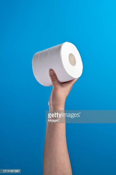 hand holding a roll of toilet paper - トイレットペーパー ストックフォトと画像