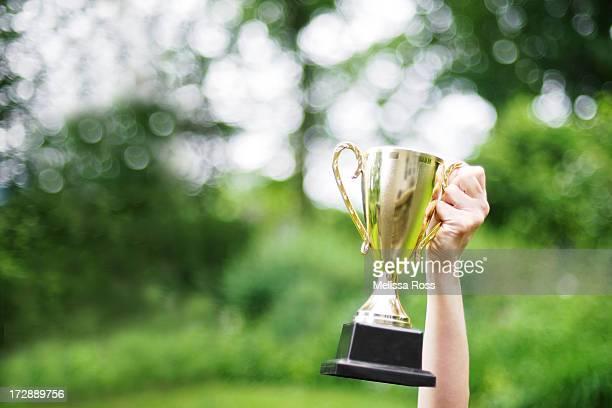 A hand holding a trophy aloft.