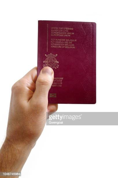 hand holding an belgian passport against a white background - belgian culture stock pictures, royalty-free photos & images
