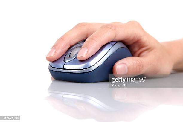 Hand Holding and Clicking Computer Mouse - XXXLarge