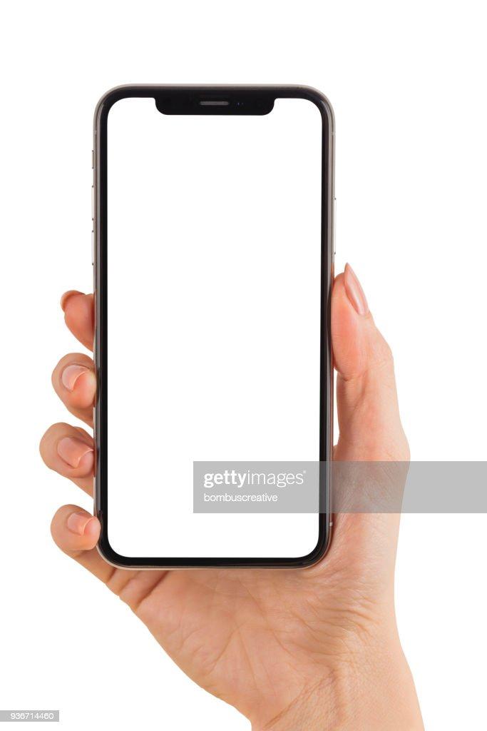 Hand Holding Apple iPhone X : Stock Photo