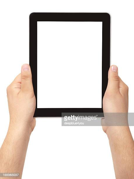 hand holding black frame tablet pc with white screen isolated