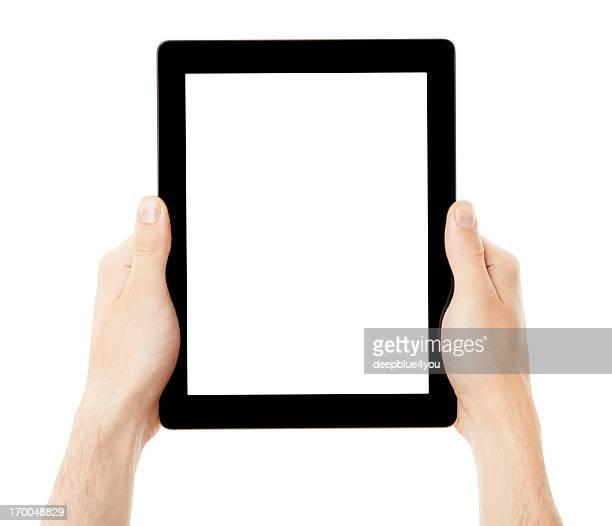 Mão segurando preto tablett pc com ecrã branco isolado