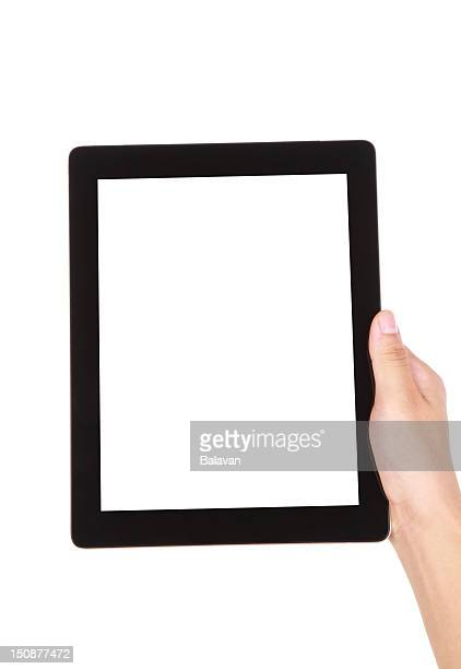 Hand holding blank screen digital tablet on white background