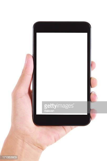 Mão segurar ecrã em branco telefone inteligente, sobre fundo branco