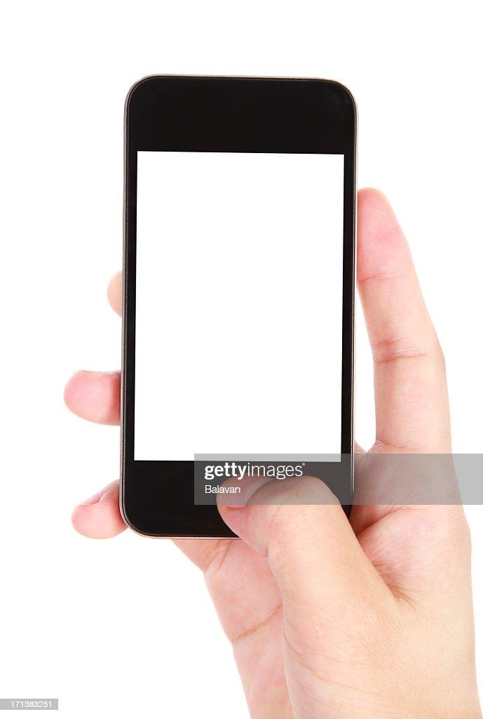 Main tenant écran blanc téléphone intelligent sur fond blanc : Photo