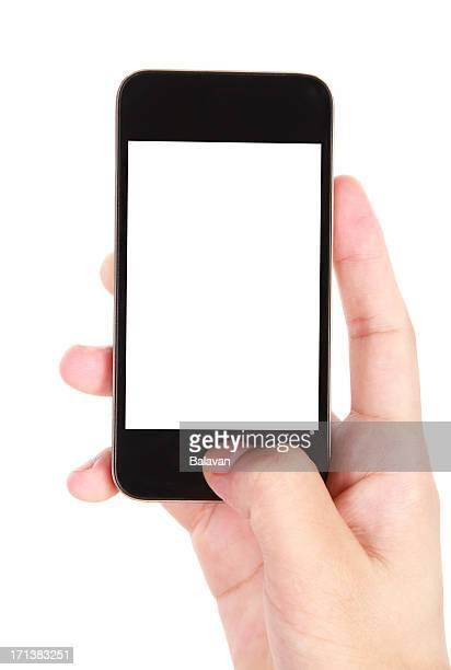 hand holding blank screen smart phone on white background - phone icon stock pictures, royalty-free photos & images