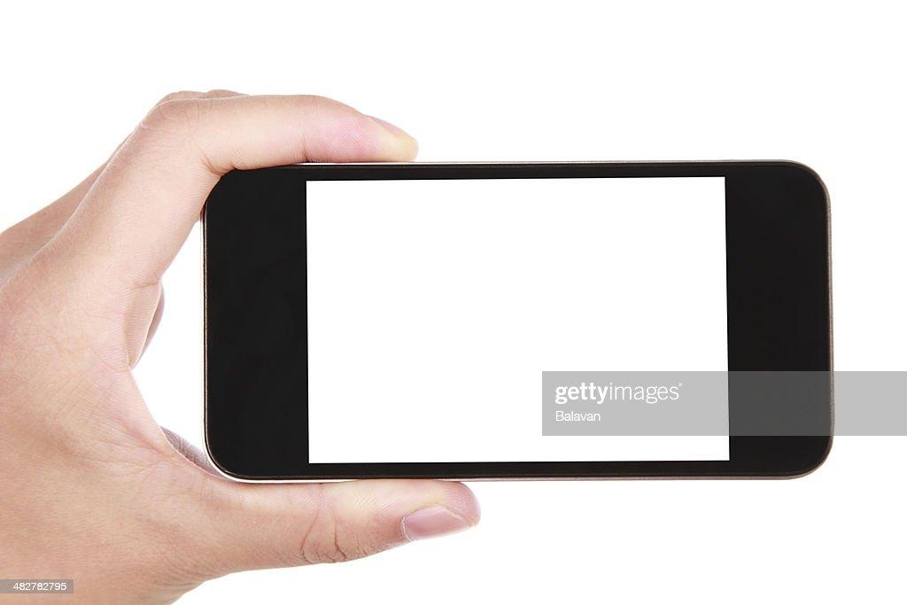 Hand holding leeren Bildschirm Smartphone auf weißem Hintergrund : Stock-Foto
